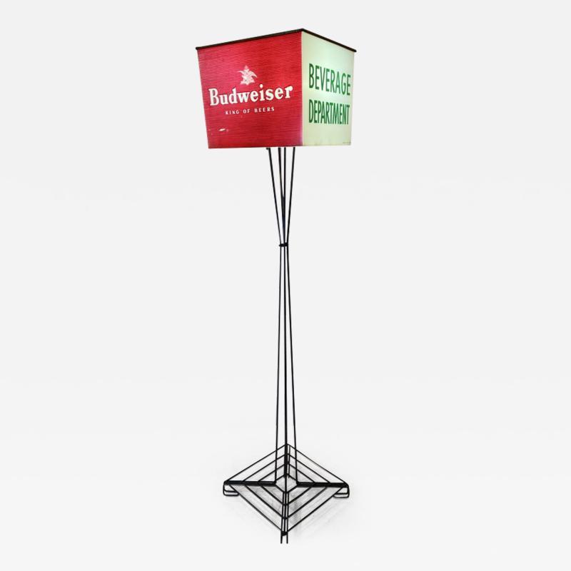 MID CENTURY BUDWEISER ADVERTISING CUBE FLOOR LAMP