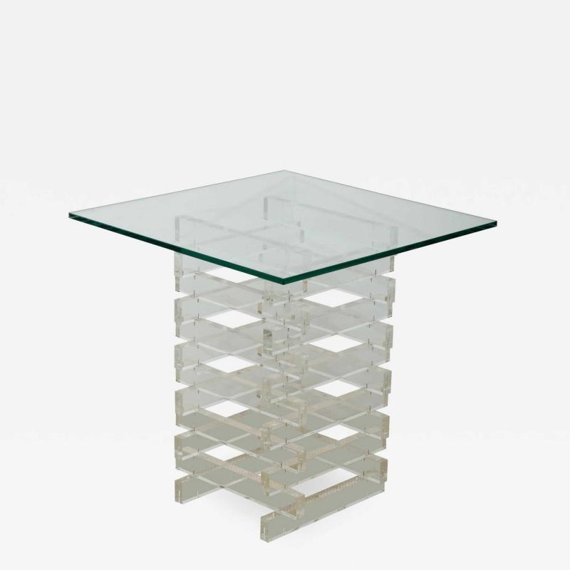 MID CENTURY GLASS TOP OCCASIONAL TABLE WITH LUCITE BASE