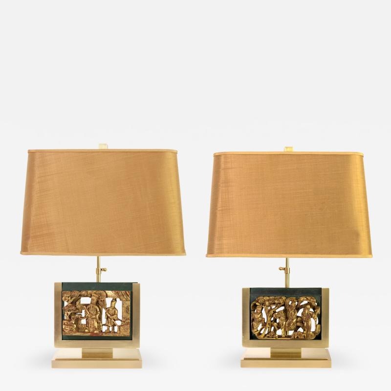 MID CENTURY TABLE LAMPS POLISHED SOLID BRASS MOUNTED ASIAN GILT WOOD CARVINGS