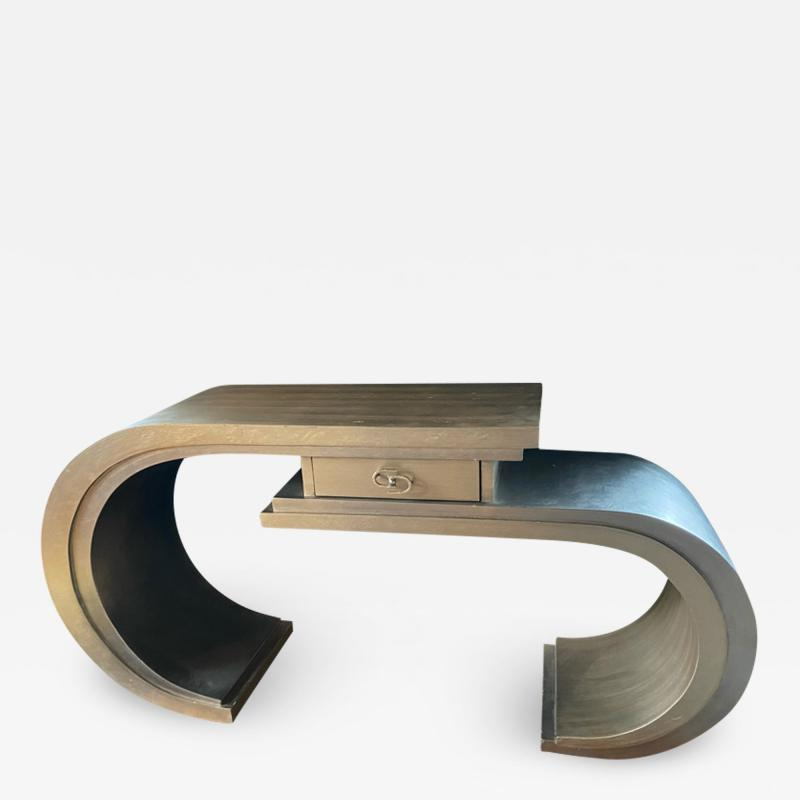 MODERN CURVED SILVER LEAF CONSOLE WITH DRAWER