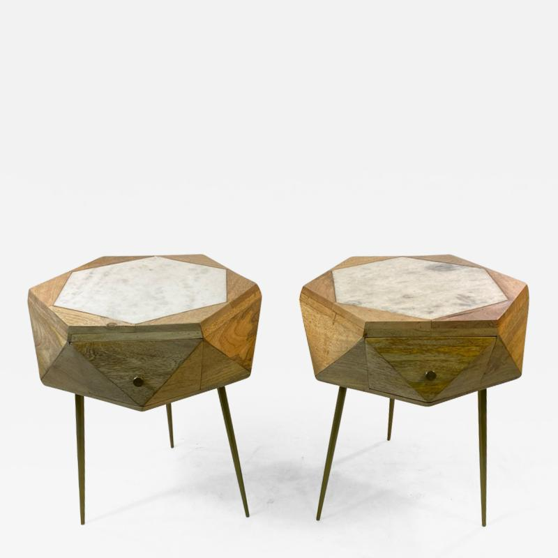 MODERN ITALIAN PAIR OF MULTI FACETED HEXAGONAL WOOD AND MARBLE TRIPOD TABLES