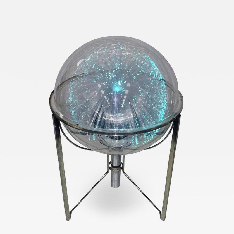 MODERN ROTATING COLOR SPECTRUM FIBER OPTIC PLEXIGLASS SPHERE LAMP