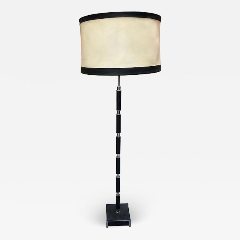MODERNIST LEATHER CHROME AND NICKEL STANDING LAMP