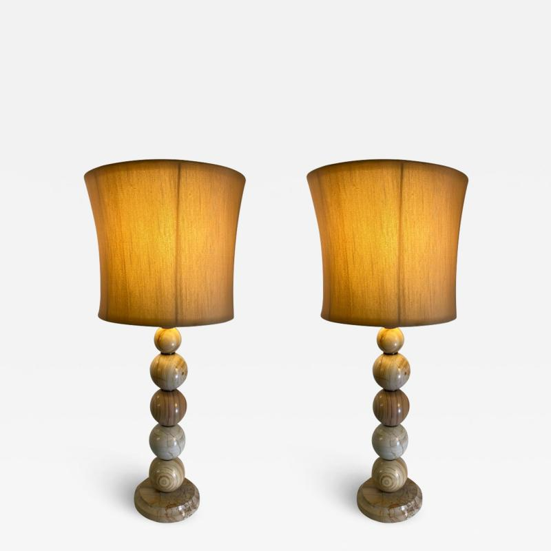 MODERNIST PAIR OF SWIRLED MARBLE BALL LAMPS