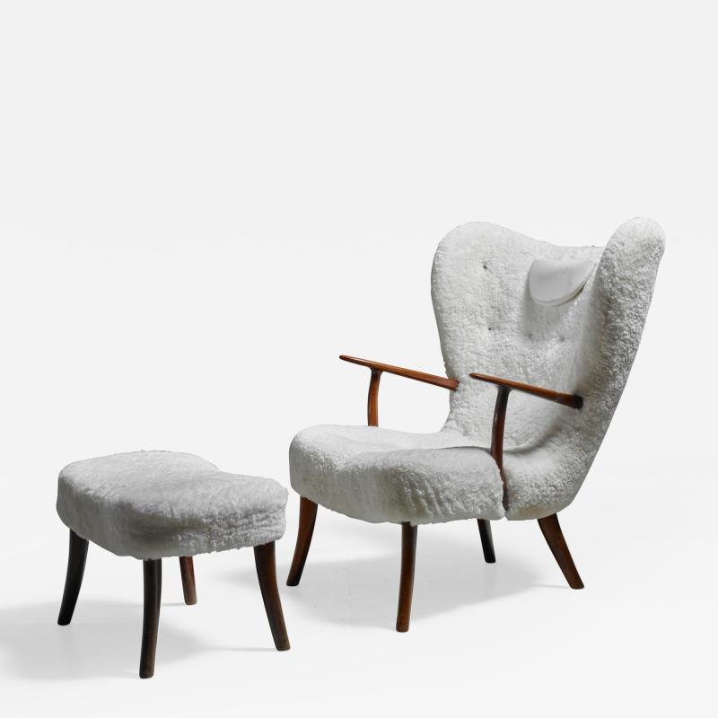 Madsen Sch bel Madsen and Sch bel Pragh Lounge Chair with Ottoman Denmark 1950s