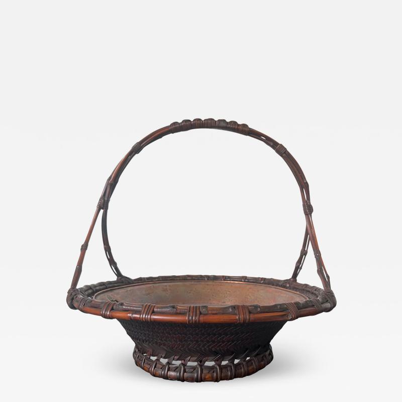 Maeda Chikubosai I Large Japanese Woven Bamboo Morikago Basket by Maeda Chikubosai I