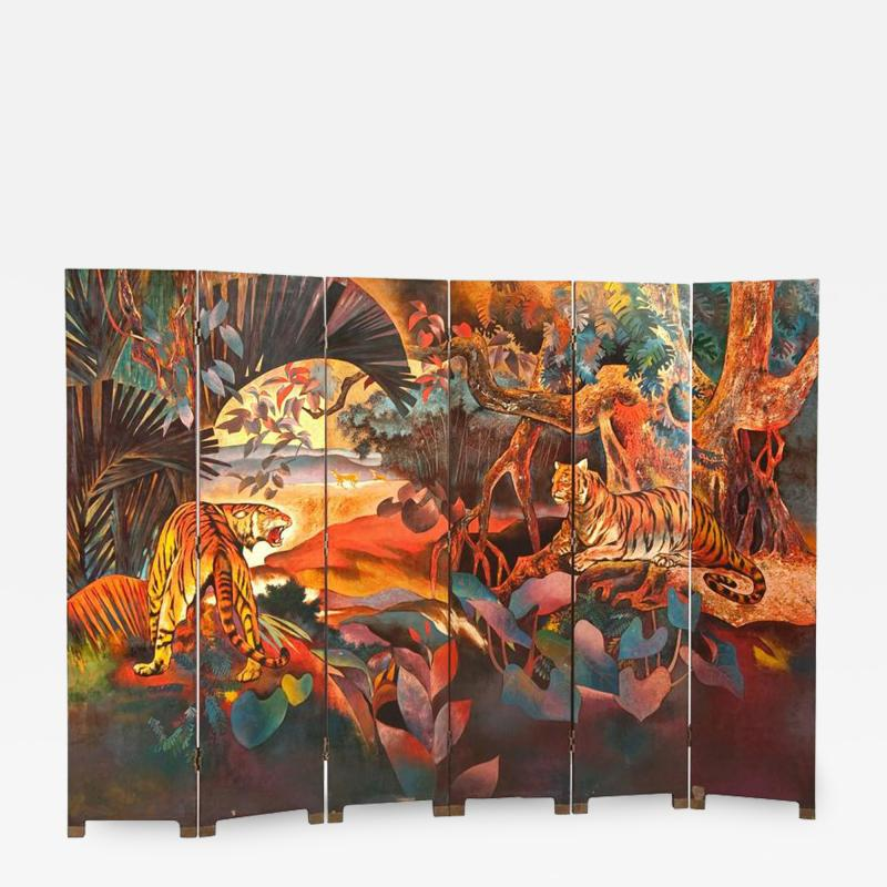 Magnificent Art Deco Laquered Screen Double Sided