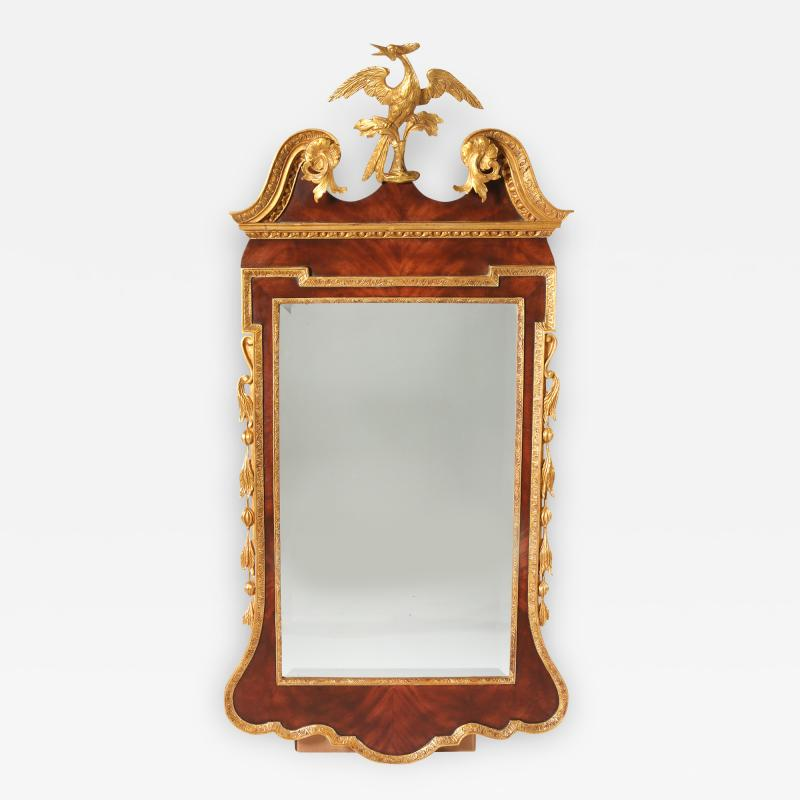 Mahogany Wood Hand Carved Beveled Wall Mirror