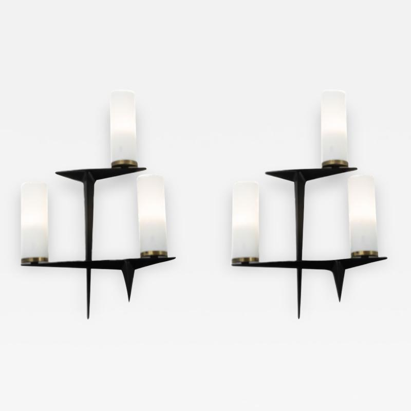 Maison Arlus Pair of 1960s brass black metal and opaline sconces signed Arlus