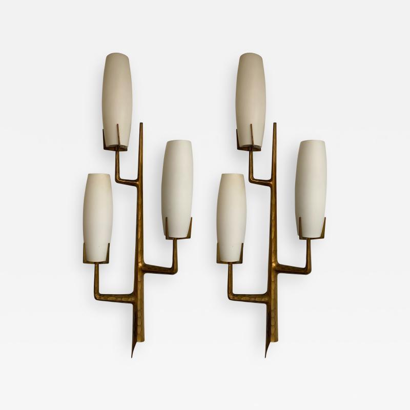 Maison Arlus Pair of Bronze Sconces Opalin Glass by Maison Arlus France 1960s