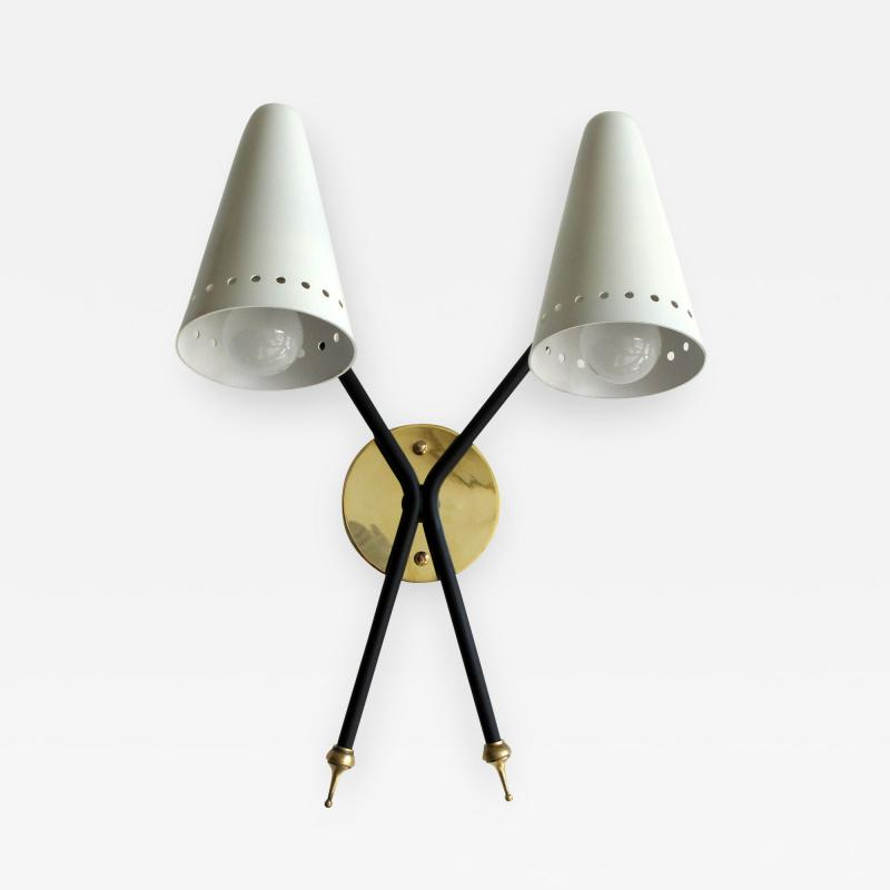 Maison Arlus Rare French Double Arm Wall Light by Arlus