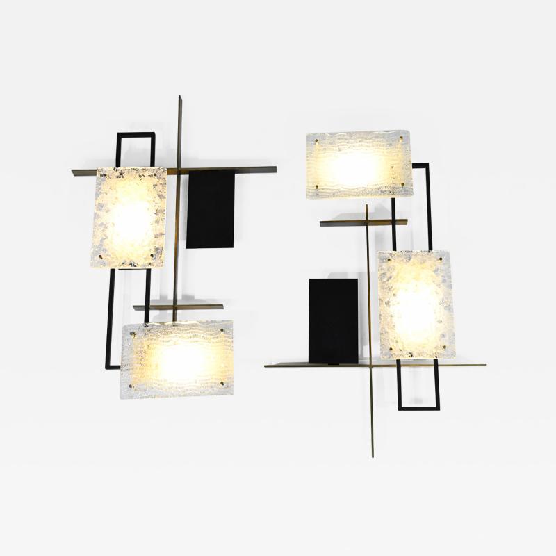 Maison Arlus Rare large pair of geometric wall lights