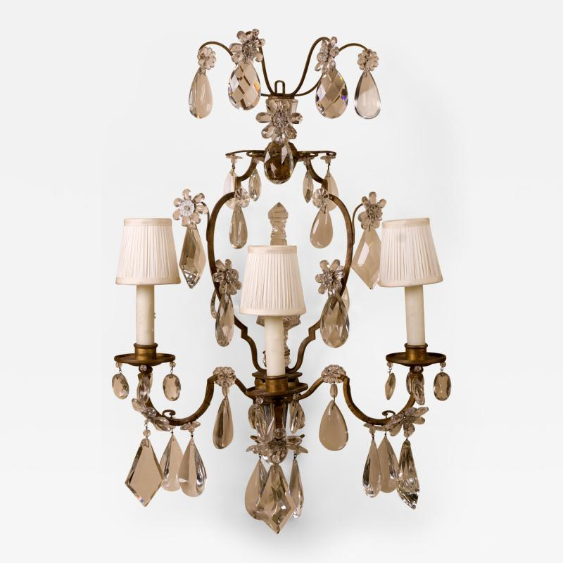 Maison Bagu s A Fine Pair of 19th Century Crystal and Bronze Sconces Attributed to Bagues