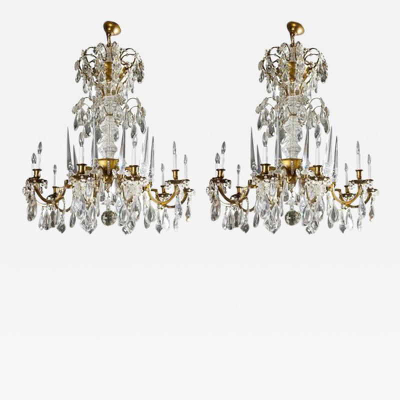 Maison Bagu s L 93 Important Pair of Crystal Chandeliers by Maison Bagu s