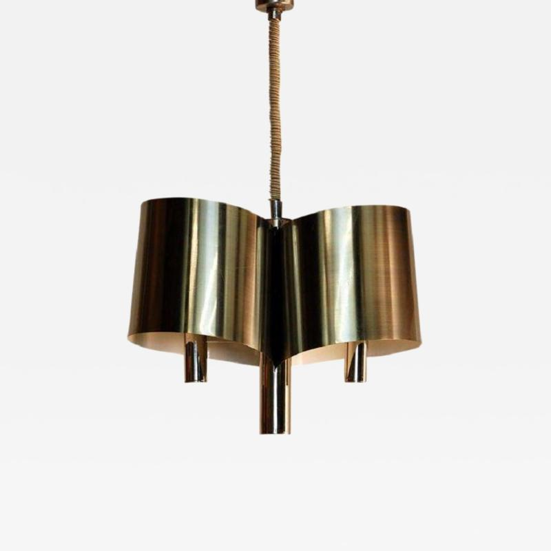 Maison Charles Chic French 1970s Polished Chrome Ribbon Chandelier by Maison Charles