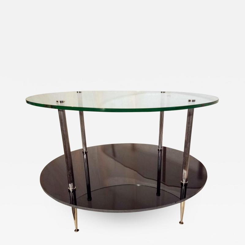 Maison Charles Glass and Vitrolite Maison Charles Neo Classic Coffee Table 1960s