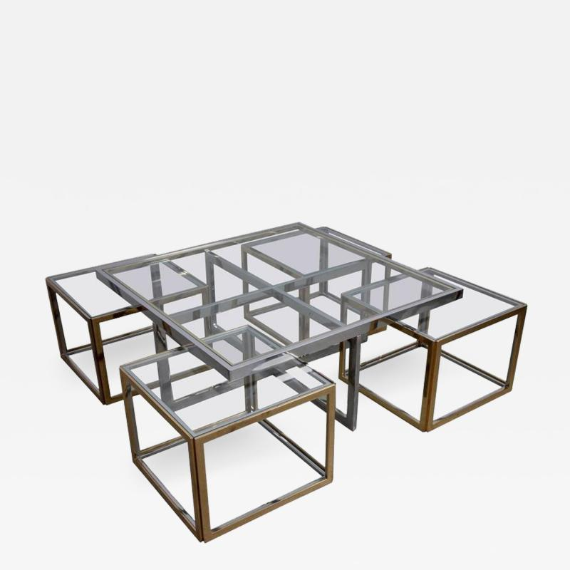 Maison Charles Huge Coffee Table in Brass and Chrome with Four Nesting Tables by Maison Charles