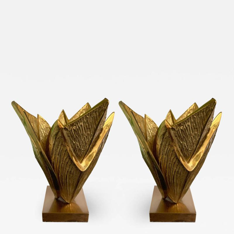 Maison Charles Pair of Bronze Lamps Milos by Maison Charles France 1970s