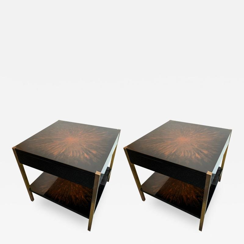 Maison Charles Pair of Lacquered and Bronze Tables by Maison Charles France 1970s