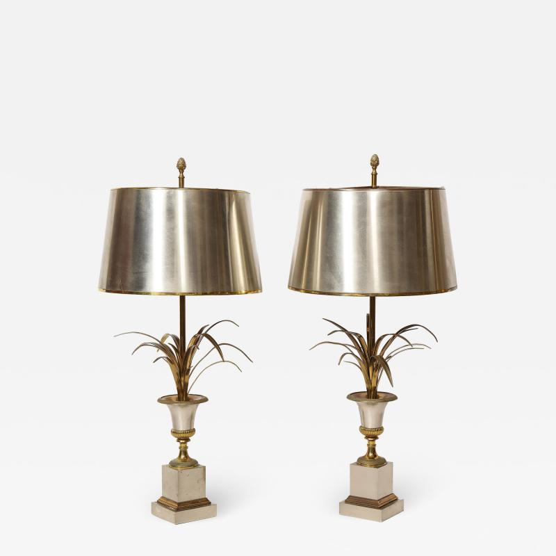 Maison Charles Pair of Steel and Brass Palm Lamps