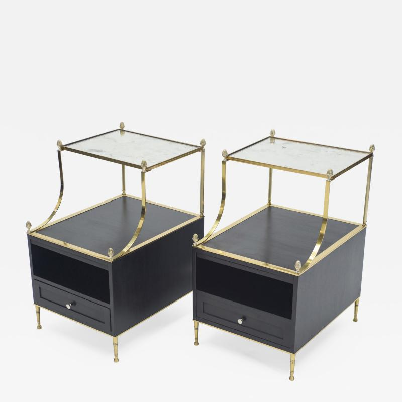 Maison Charles Rare Pair of French Maison Charles brass mirrored end tables 1950s