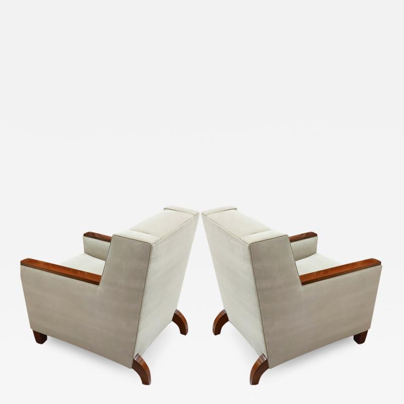 Maison Dominique Maison Dominique pair of refined Art Deco club chairs