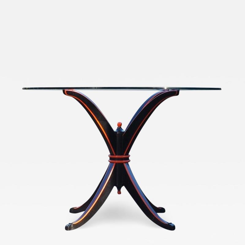 Maison Hirsch Black and Orange Lacquered Table circa 1960