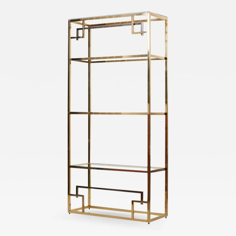 Maison Jansen 1 of 2 Brass and Gold Plated Bookshelf or tag re Attributed to Maison Jansen