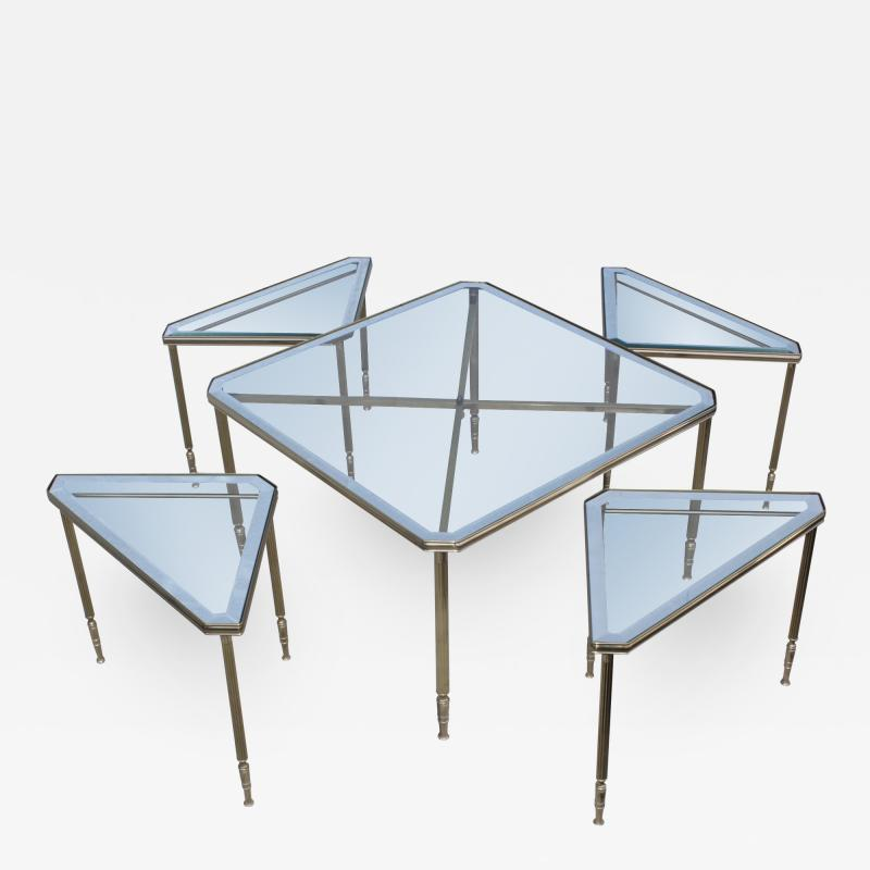 Maison Jansen 1950s Mid Century Modern Italian Brass Coffee Table With Nesting Side Tables
