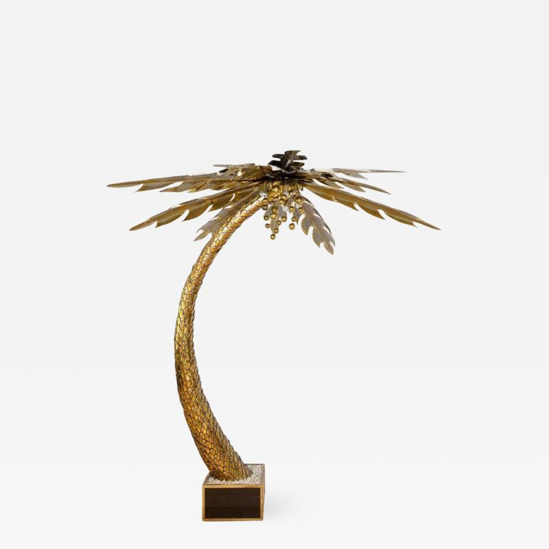 Maison Jansen Beautiful 1970s lighting palm tree in gilded metal and polished brass