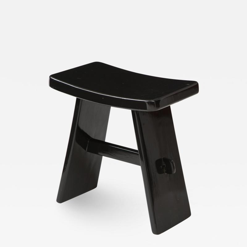 Maison Jansen Black lacquer stool in the style of Maison Jansen France 1970s