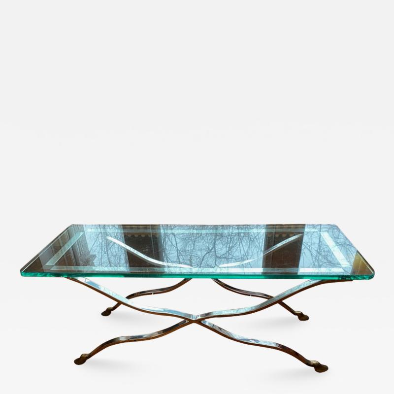 Maison Jansen EXCEPTIONAL NICKEL AND BRASS X BASE COFFEE TABLE BY MAISON JANSEN