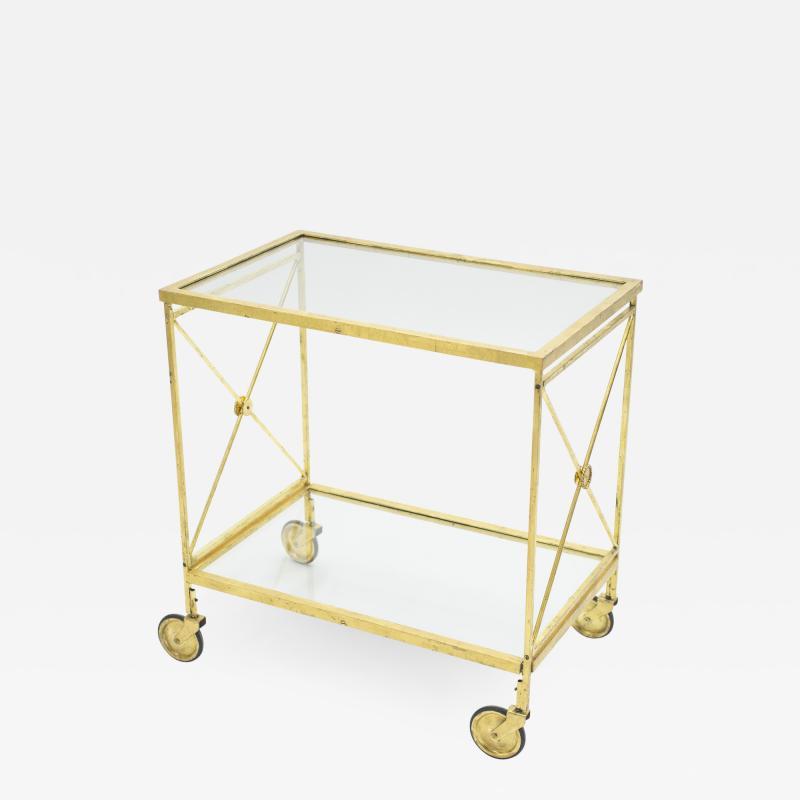 Maison Jansen French neoclassical Maison Jansen gilded iron bar cart 1960s