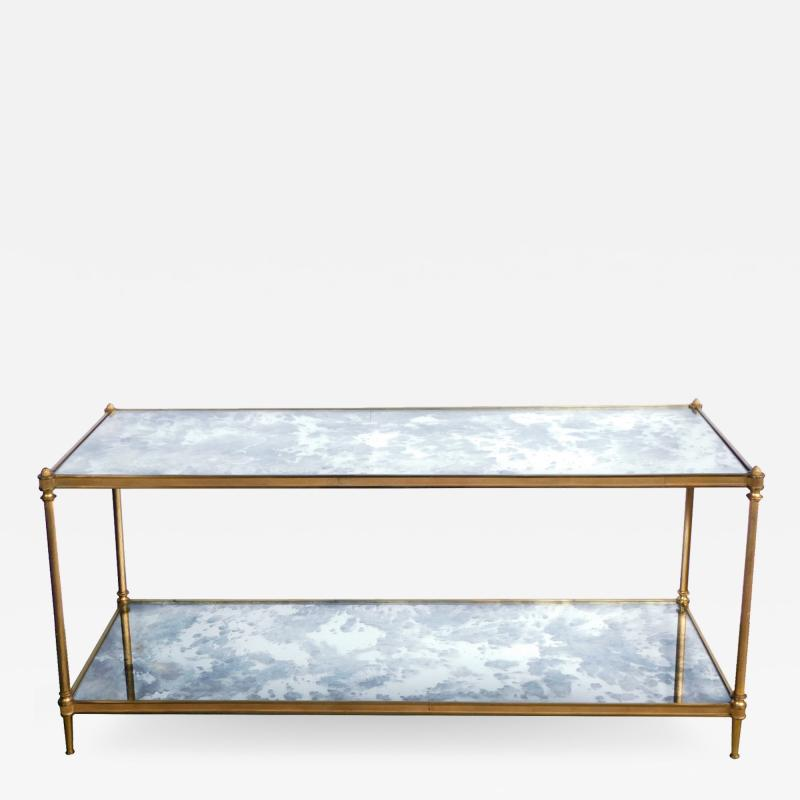 Maison Jansen Good Quality 1960s Maison Jansen Gilt Bronze and Mirrored 2 Tier Coffee Table