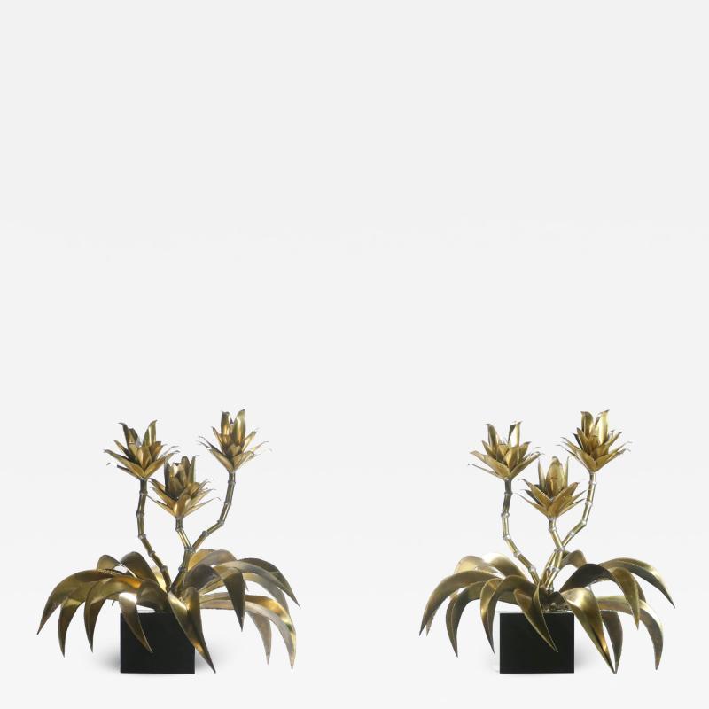 Maison Jansen Hollywood Regency Pair of Maison Jansen brass flower lamps 1970s