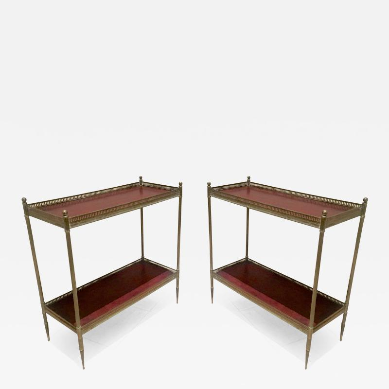Maison Jansen Maison Jansen 1940s Pair of Two Tier Side Table with Red Leather Patinated Top
