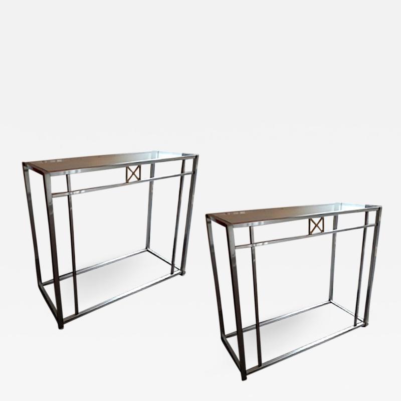 Maison Jansen Maison Jansen 70s pair of sturdy chrome steel console