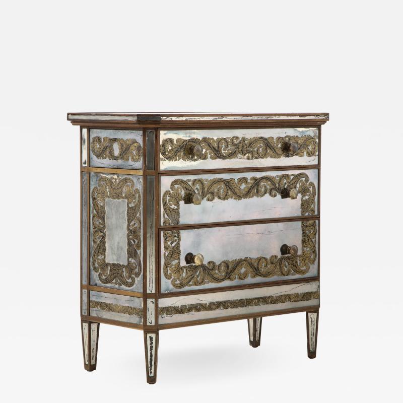 Maison Jansen Maison Jansen Eglomis Three Drawer Chest Dresser