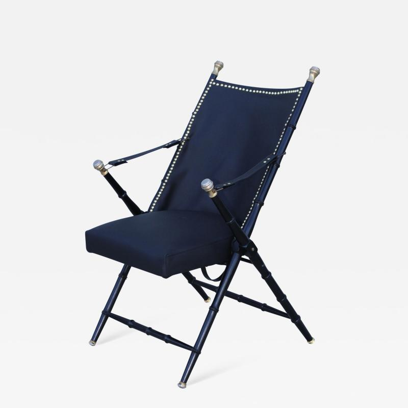 Maison Jansen Maison Jansen Style Campaign Leather Chair