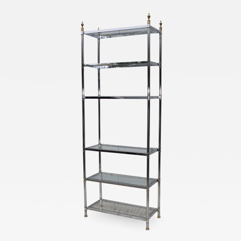 Maison Jansen Maison Jansen Style Chrome And Brass Etagere