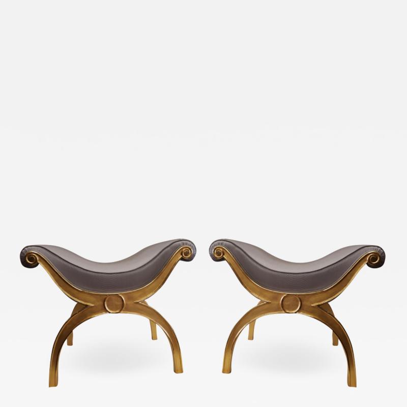 Maison Jansen Maison Jansen chicest gold leaf x shaped stools