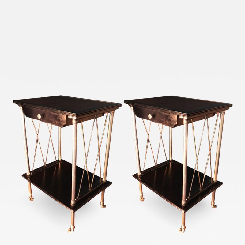 Maison Jansen Maison Jansen pair of neo classic side tables or bedsides on rolls