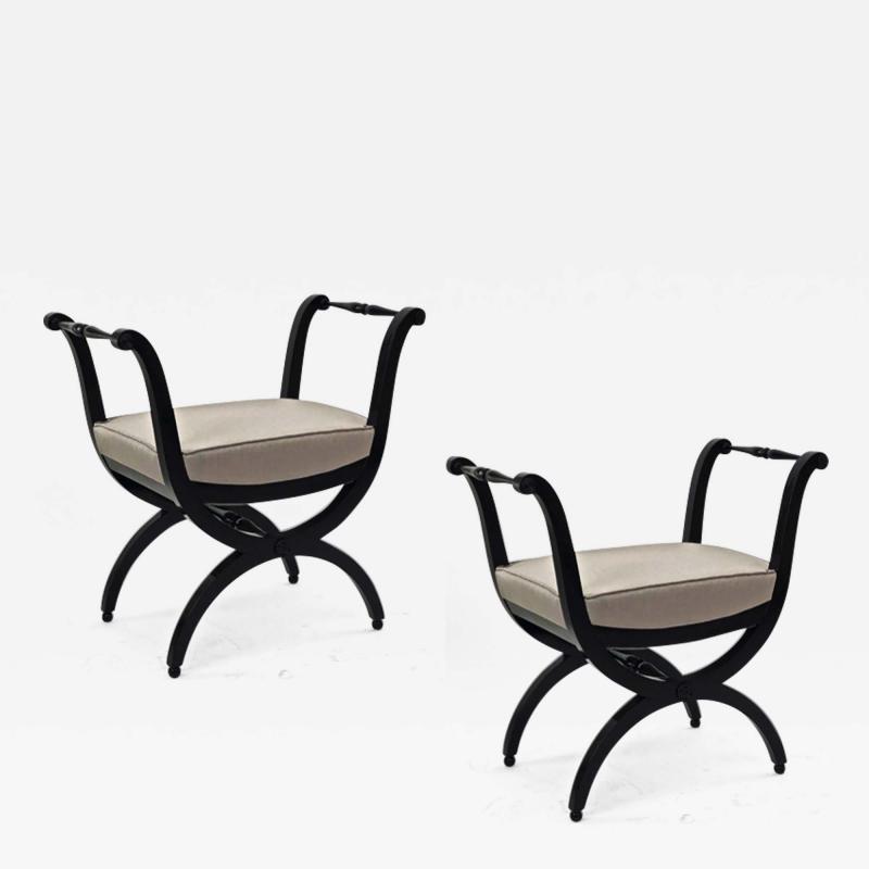 Maison Jansen Maison Jansen refined harp shaped pair of black lacquered stools