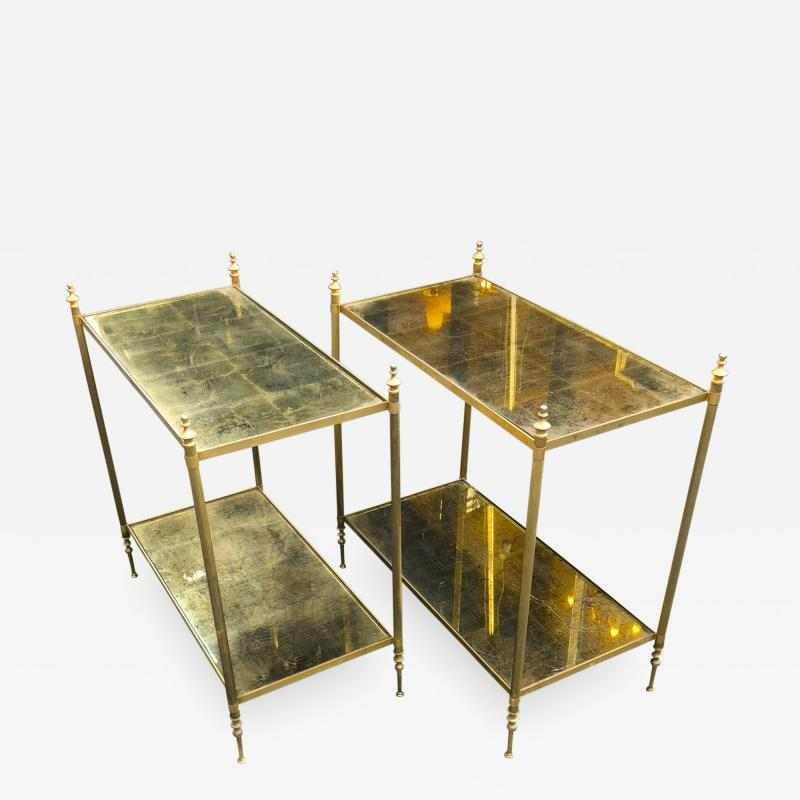 Maison Jansen Maison Jansen refined pair of 2 tier side table with gold leaf glasses