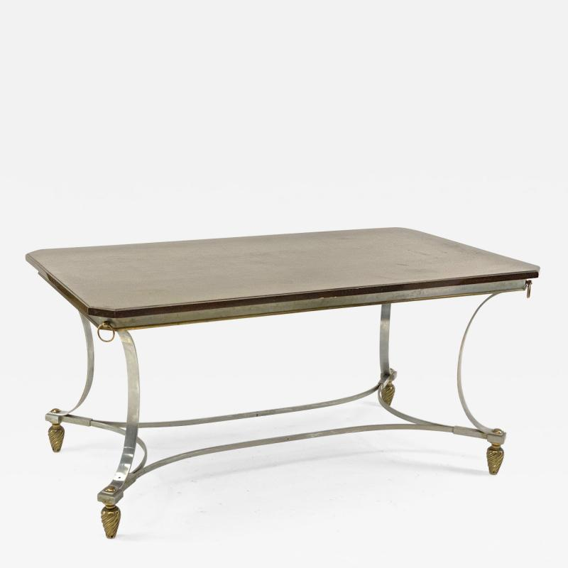 Maison Jansen Maison Jansen superb dinning table with metal base and bronze accent