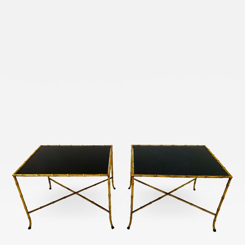 Maison Jansen Pair French Gilt Iron Faux Bamboo Side Tables