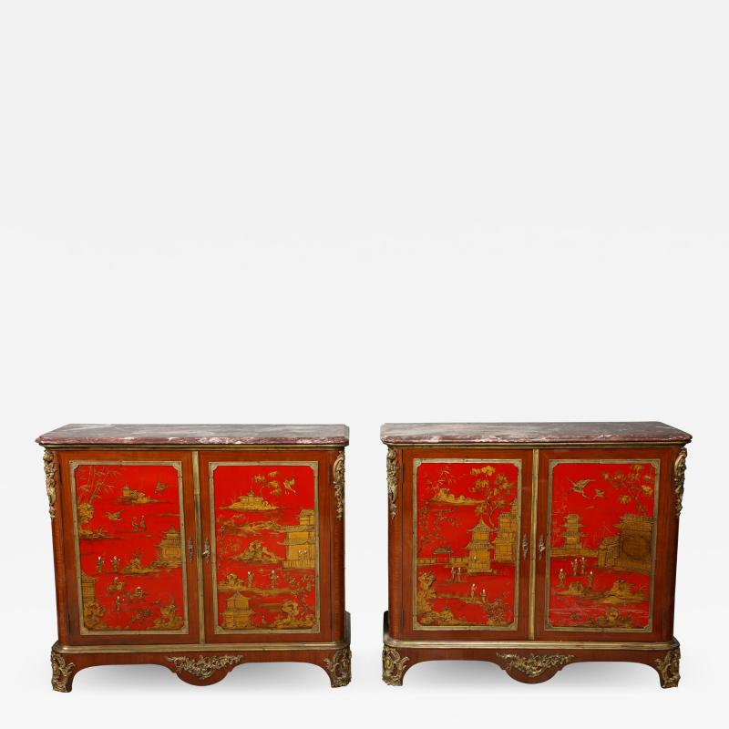 Maison Jansen Pair of French 1940s Transitional Style Red Chinoiserie Cabinets