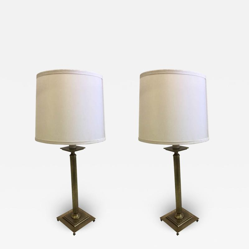 Maison Jansen Pair of French Mid Century Modern Neoclassical Brass Table Lamps Maison Jansen