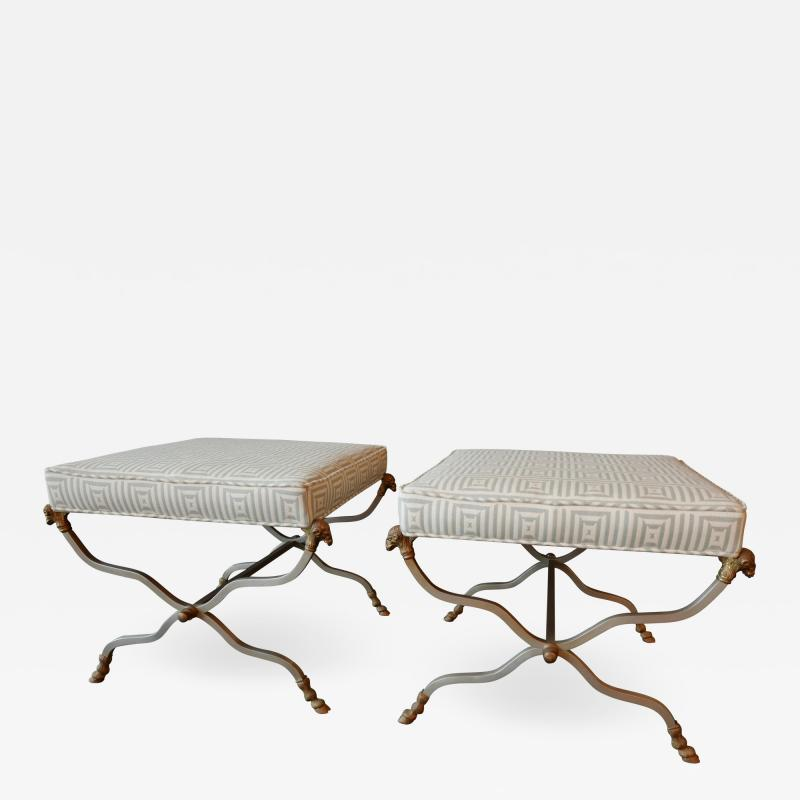 Maison Jansen Pair of Maison Jansen Neoclassic Style Steel and Brass Ottoman Benches