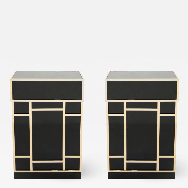 Maison Jansen Pair of Maison Jansen brass black lacquered dry bar elements 1970s